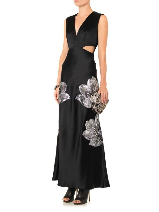 Alexander McQueen Floral-embroidered cut-out satin gown