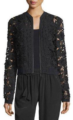 Elie Tahari Glenna Lace Bomber Jacket, Black $398 thestylecure.com