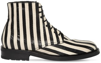 Saint Laurent Army Striped Lace-up Snakeskin Boots
