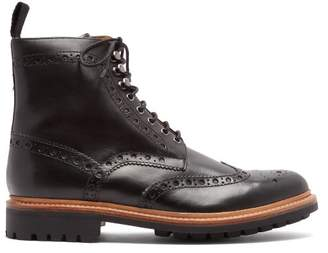 Grenson Fred Leather Brogue Boots - Mens - Black