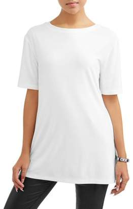 No Boundaries Juniors' Short Sleeve Side Slit Tunic Tee
