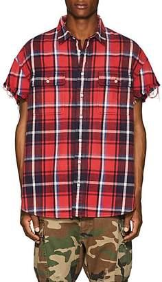 R 13 Men's Plaid Distressed Cotton Shirt - Red
