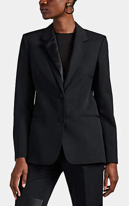 Helmut Lang Women's Satin-Trimmed Wool Two-Button Blazer - Black