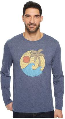 Life is Good Wave Palm Pattern Long Sleeve Cool Tee Men's Short Sleeve Pullover