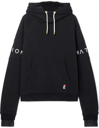 P.E Nation The Fast Forward Defender Printed Cotton-jersey Hoodie - Black