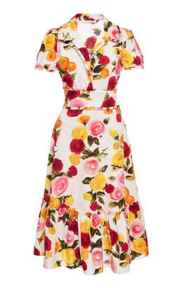 Naeem Khan M'O Exclusive Floral Printed A Line Dress