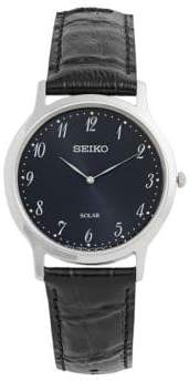Seiko Solar Stainless Steel Leather Strap Watch