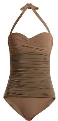 Heidi Klein Body Ruched Bandeau Swimsuit - Womens - Khaki