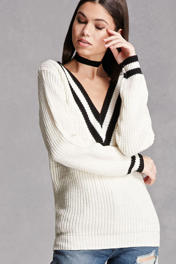 FOREVER 21+ Striped V-Neck Sweater