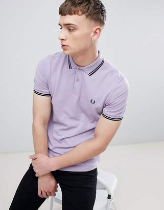 Fred Perry Twin Tipped Polo In Lilac
