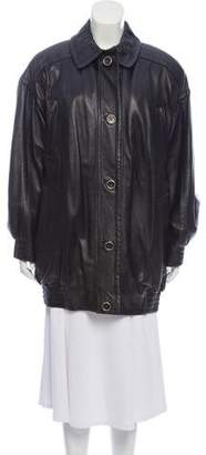 Bruno Magli Oversize Leather Jacket