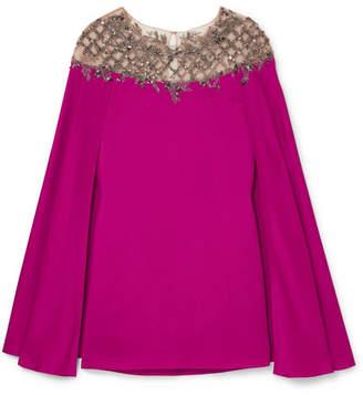 Marchesa Cape-effect Embellished Tulle-paneled Satin Mini Dress - Magenta