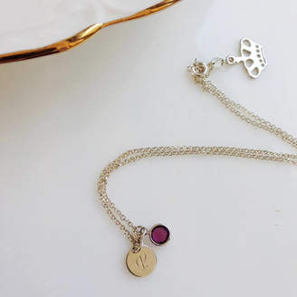 Anna Lou of London Initial Birthstone Necklace