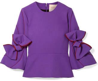 Roksanda Ricciarini Bow-embellished Satin-trimmed Crepe Blouse