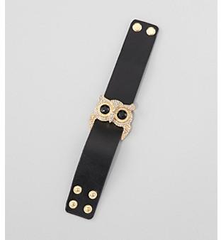 Erica Lyons® Black/Goldtone Leather Strap Bracelet