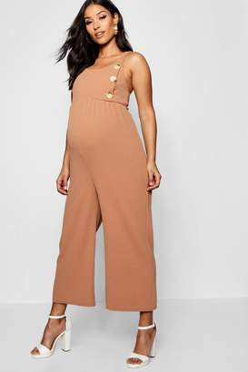 boohoo Maternity Horn Button Jersey Dungaree