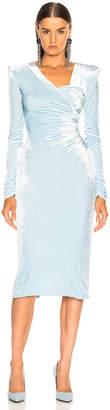 Versace Off Shoulder Ruched Midi Dress
