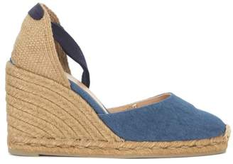 Castaner Carina Natural Jute And Blue Washed Fabric Wedge Sandal