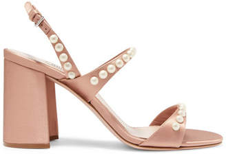 Miu Miu Faux Pearl-embellished Satin Sandals - Blush