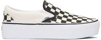Vans Black and Off-White Checkerboard Classic Platform Slip-On Sneakers