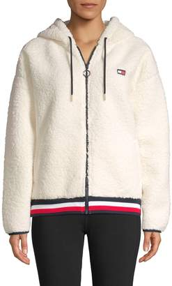 Tommy Hilfiger Hooded Faux Shearling Zip Jacket