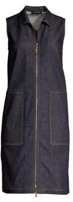 Lafayette 148 New York Women's Theodore Sleeveless Denim Dress - Indigo - Size XS