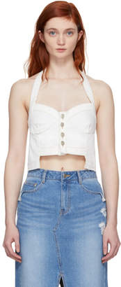 Sjyp White Denim Button Front Bustier