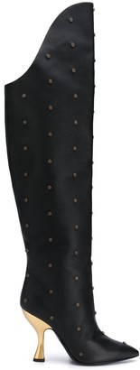 Moschino pointed knee-length boots