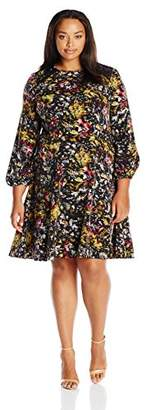 London Times Women's Plus Size Long Sleeve Round Neck Fit and Flare Dress