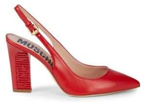 Moschino Logo Engraved Sling-Back Pumps