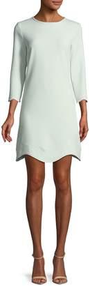 Shoshanna Reina Three-Quarter Sleeve Scalloped Mini Dress