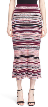Tanya Taylor Stripe Ribbed Midi Skirt $450 thestylecure.com