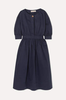 Marni Belted Cotton And Linen-blend Twill Midi Dress - Navy