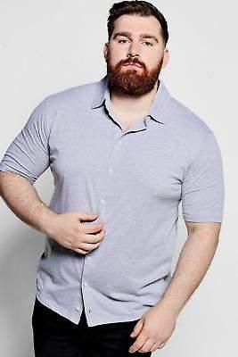 Big and Tall Kurzärmeliges Hemd aus Jersey in Grau größe Xxxl