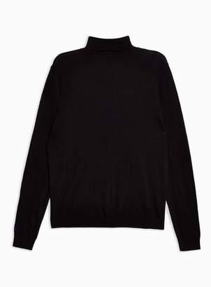Topman Mens Black Turtle Neck Sweater