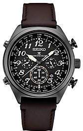 Seiko Men's Black Radio Sync Solar ChronographLeather Watch