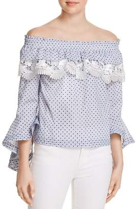 Red Carter Azeeza Dot Off-the-Shoulder Top