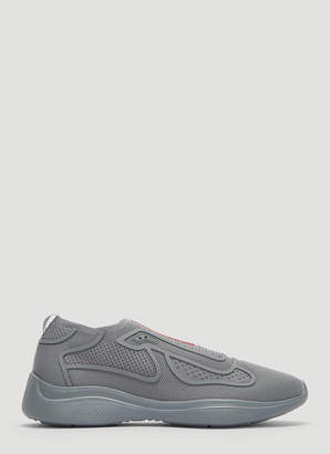 Prada New Americas Cup Sports Knit Sneakers in Grey