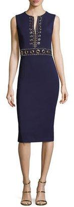 Michael Kors Grommet Zip-Front Sheath Dress, Maritime $2,150 thestylecure.com