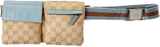 Gucci Blue Gg Canvas & Leather Waist Pouch