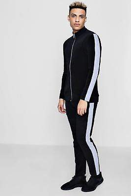 boohoo NEW Mens Velour Black Panel Detail Skinny Fit Tracksuit in Cotton