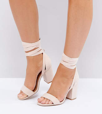 Asos HOWLING Wide Fit Tie Leg Heeled Sandals
