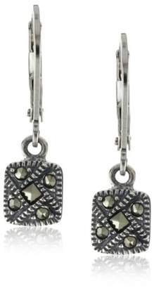 Judith Jack Sterling Marcasite Square Drop Earrings