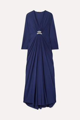 Reem Acra Draped Embellished Jersey Maxi Dress - Midnight blue