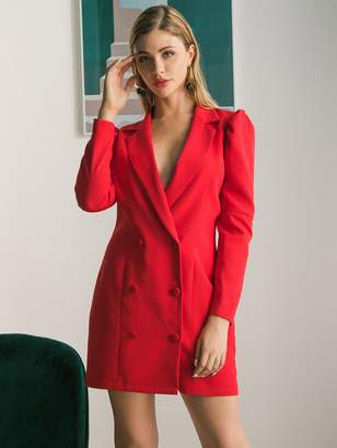 Shein Double Crazy Solid Double Breasted Puff Sleeve Blazer Dress
