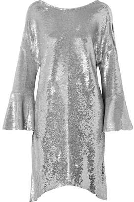 IRO Napa Asymmetric Sequined Cotton Mini Dress - Silver