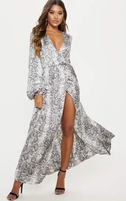 PrettyLittleThing Grey Snake Wrap Front Maxi Tea Dress