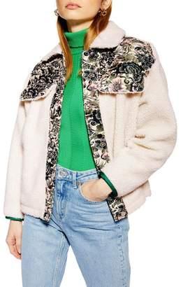 Topshop Jacquard Borg Faux Shearling Western Jacket