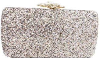 Sondra Roberts Glitter Fabric with Pearl Clasp Box Clutch