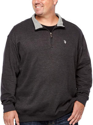 U.S. Polo Assn. Mens Y Neck Long Sleeve Quarter-Zip Pullover Big and Tall